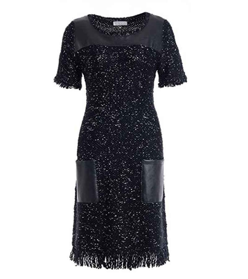TUZZI Sommerkleid »TUZZI Kleid cooles Damen Lederimitat-Kleid mit 3/4-Ärmeln Midi-Kleid Schwarz«