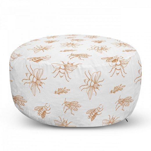 Abakuhaus Pouf »dekorative weiche Fußstütze und Reißverschlusshülle osmanisches Wohn-und Schlafzimmer«, Bienenkönigin Umrisszeichnungen Muster