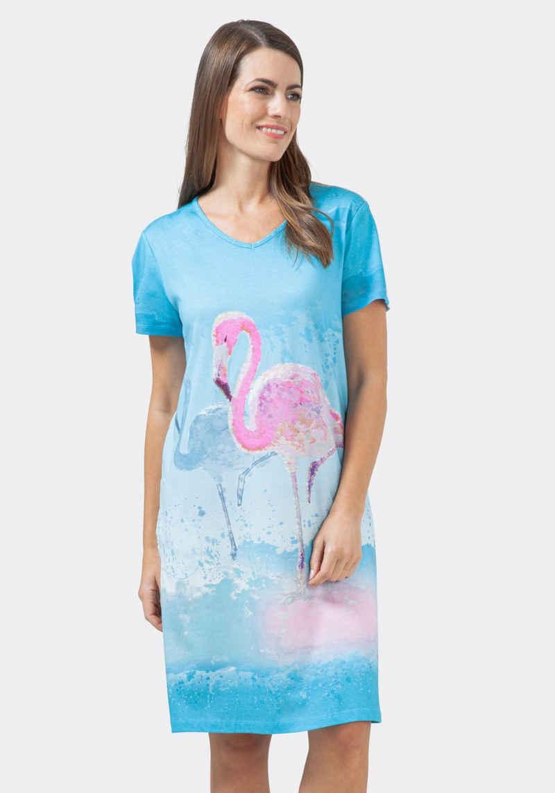 Hajo Nachthemd mit einem Flamingo