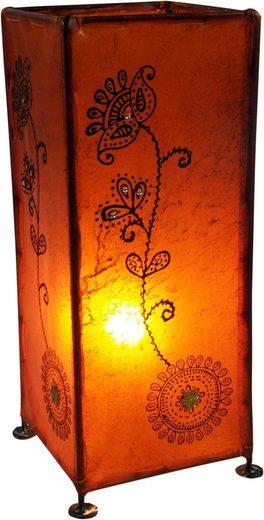 Guru-Shop Tischleuchte »Hennalampe, Leder Tischlampe - Modell Agra«