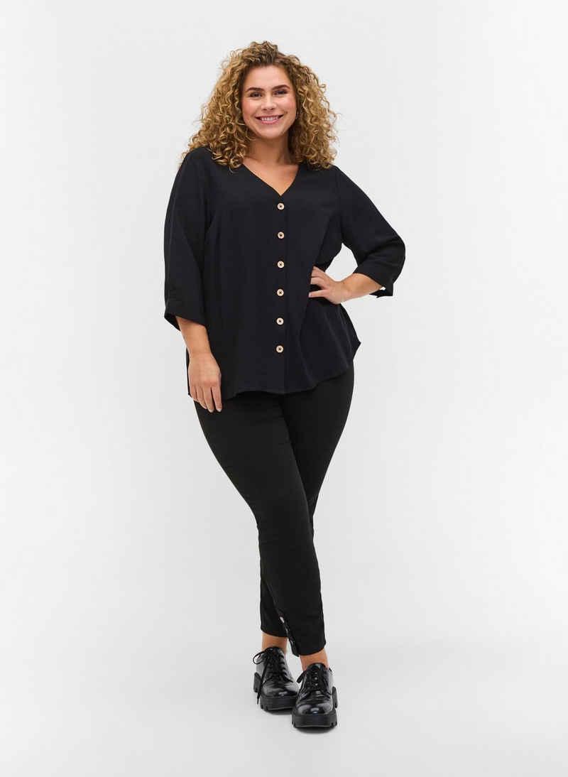Zizzi Blusentop Große Größen Damen Bluse aus Viskose mit Knöpfen und V-Ausschnitt