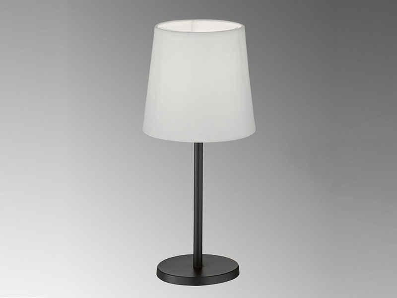 FHL easy! LED Nachttischlampe, kleine Stoff-Lampe Schwarz Lampenschirm Weiß rund – Designklassiker für die Fensterbank