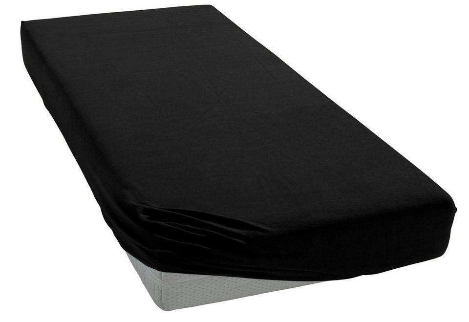 Spannbettlaken, Bellana, »Jersey Vital«, für hohe Matratzen in schwarz