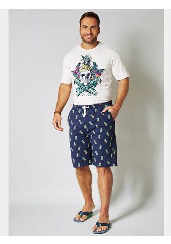 MEN PLUS BY HAPPY SIZE Marškinėliai su Totenkopf-Print