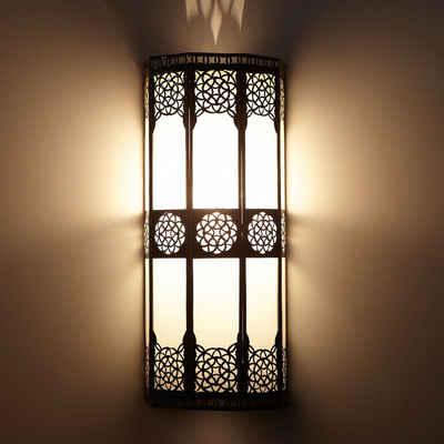 Casa Moro Wandleuchte »Orientalische Wandlampe marokkanische Wandleuchte Resmi H 44 x B 20 cm aus Metall & Milchglas, Schöne Dekoration für Wand & Flur, Kunsthandwerk aus Marrakesch, L1421«