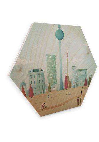 Wall-Art Holzbild »Geometrisches Holzbild Retro...