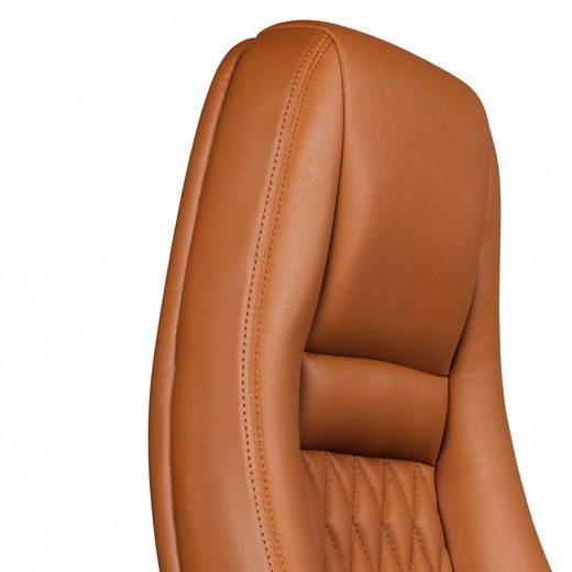 Amstyle Chefsessel »SPM1.299« Bürostuhl AUSTIN Echt-Leder Caramel Schreibtischstuhl 120KG Chefsessel hohe Rückenlehne mit Kopfstütze X-XL
