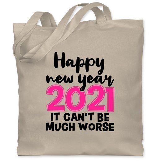 Shirtracer Umhängetasche »Happy new year 2021 - It can't be much worse - schwarz/fuchsia - Weihnachten & Silvester - Jutebeutel lange Henkel - Jutebeutel & Taschen«, happy new year