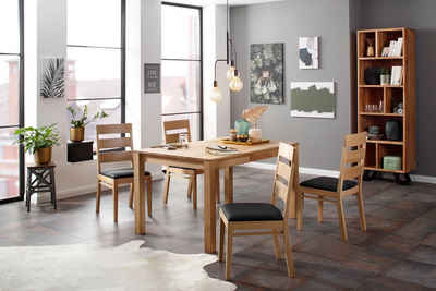 Home affaire Essgruppe »Soeren 2«, (Set, 5-tlg., Tisch 140/90 cm, 4 Stühle, Polstersitz), aus Massivholz