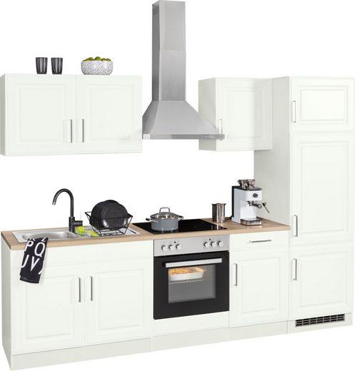 HELD MÖBEL Küchenzeile »Stockholm«, mit E-Geräten, Breite 270 cm, mit hochwertigen MDF Fronten im Landhaus-Stil