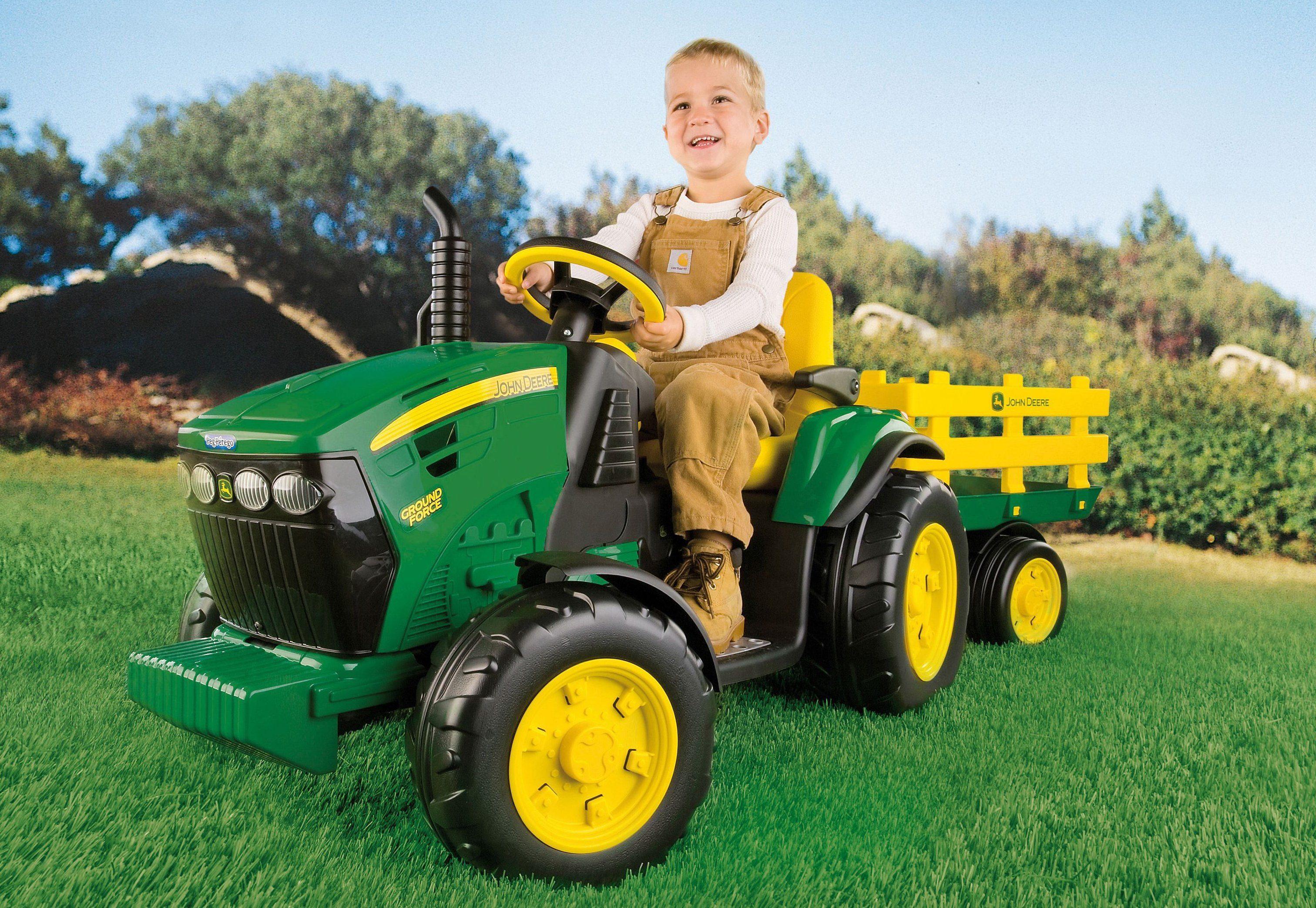 Peg pérego elektrofahrzeug für kinder traktor mit anhänger