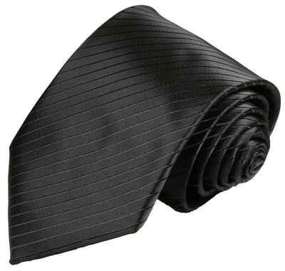 Paul Malone Krawatte »Herren Hochzeitskrawatte uni gestreift klassisch elegant - Mikrofaser - Bräutigam Hochzeitsmode« Breit (8cm), schwarz V21