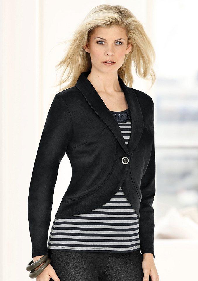 Ambria Shirt mit Ziersteinen in schwarz-grau-gestreift