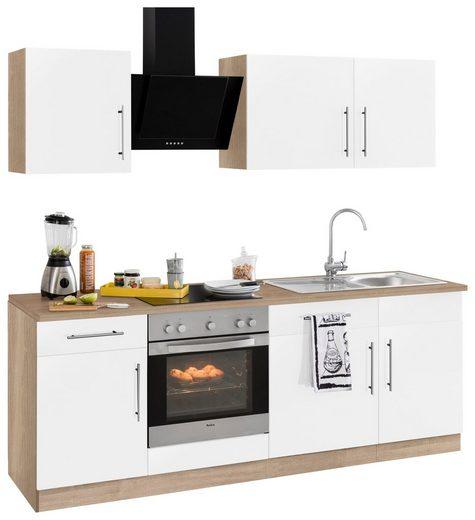 wiho Küchen Küchenzeile »Cali«, mit E-Geräten, Breite 220 cm mit Metallgriffen