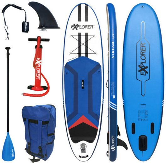 EXPLORER Inflatable SUP-Board »Stream 10.2«, (6 tlg., mit Paddel, Pumpe und Transportrucksack)