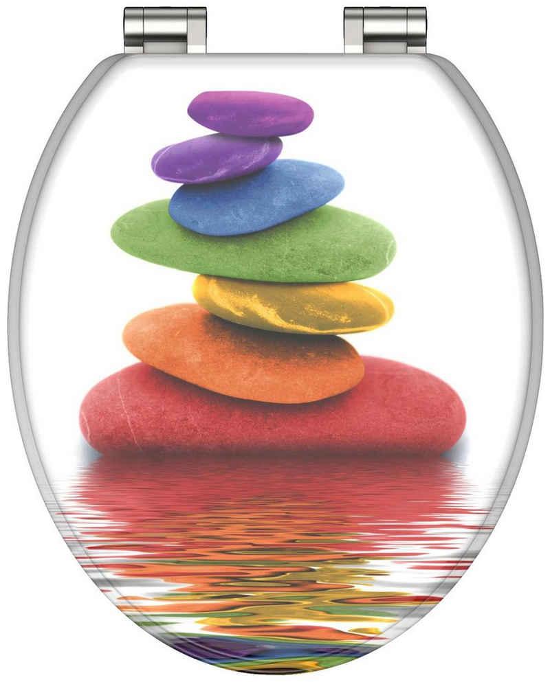 Schütte WC-Sitz »Colorful Stones«, mit Holzkern und Absenkautomatik