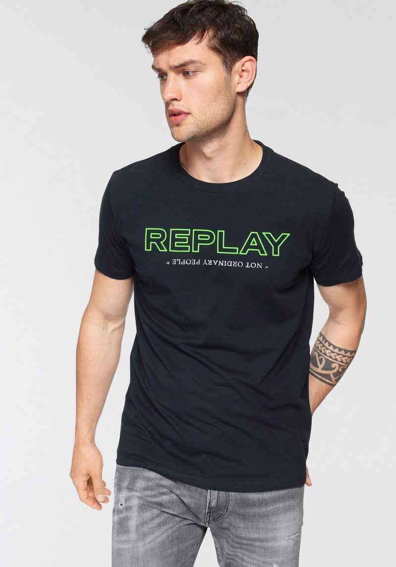 Replay T-Shirt mit Markenprint vorne