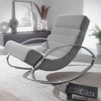 FINEBUY Schaukelstuhl »FB59740«, Relaxliege Sessel Fernsehsessel Farbe braun Relaxsessel Design Schaukelstuhl Wippstuhl modern Liege