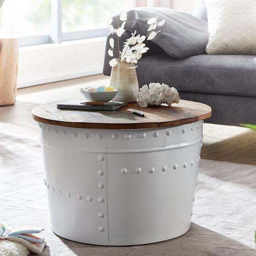 FINEBUY Couchtisch »FB24607«, Mango 60x40x60 cm Massivholz Metall Weiß Industrial Rund Design Wohnzimmertisch mit Stauraum Loungetisch Sofatisch Modern