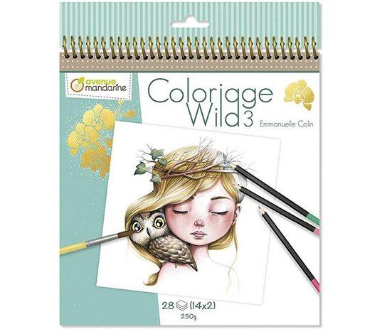 Avenue Mandarine Malblock »Sammler Ausmalalbum Wilde Charaktere - Wild 3, aus Zeichenpapier 250 g, mit Mikro-perforierten Blättern, 28 Blatt, 14 Zeichnungen«