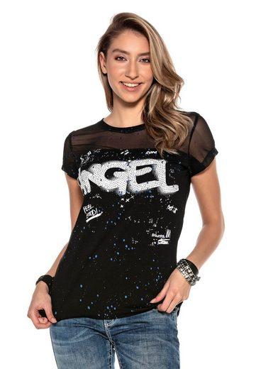 Cipo & Baxx T-Shirt mit Netzstoff und Pailletten