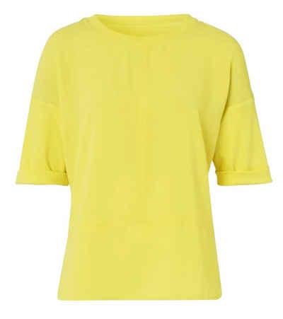 efixelle T-Shirt »efixelle U-Boot-Shirt lässiges Damen T-Shirt Sommer-Shirt Gelb«