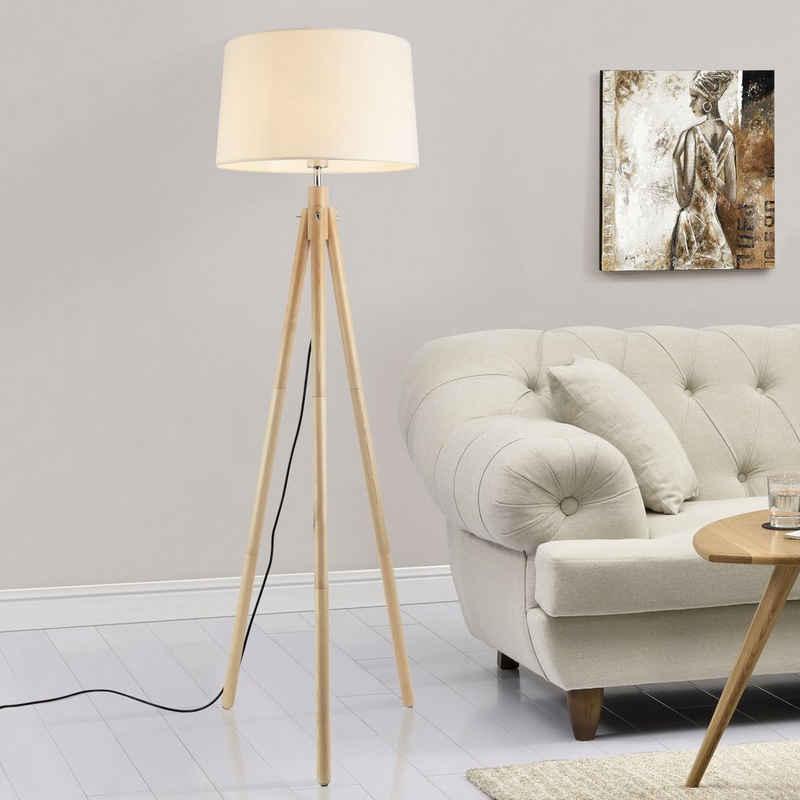 lux.pro Stehlampe, Stylische Stehleuchte »Tomar« mit 3-füßigem Holzgestell