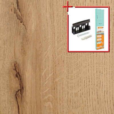 Bodenmeister Laminat »Dielenoptik Eiche beige rustikal«, Set, bestehend aus 14,34qm Laminatboden, Trittschalldämmung und Sockelleisten, Leiste dekorgleich, Stärke: 7mm, ohne Fuge
