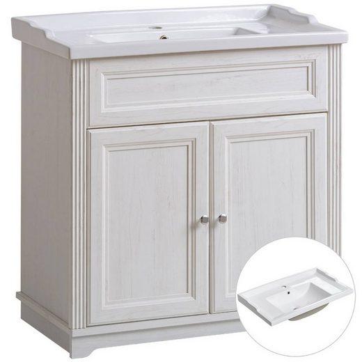 Lomadox Waschtisch »CELAYA-56«, Waschtischunterschrank 80cm Retro Keramik-im Vintage Landhausstil, Andersen Pine weiß, B x H x T ca. 80 x 79 x 45cm