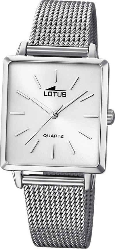 Lotus Quarzuhr »D2UL18718/1 LOTUS Edelstahl Damen Uhr 18718/1«, (Quarzuhr), Damenuhr mit Edelstahlarmband, eckiges Gehäuse, klein (ca. 27mm), Fashion-Style