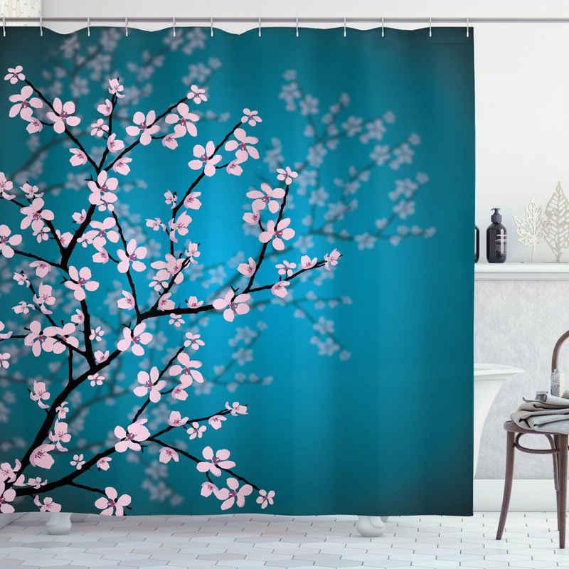 Abakuhaus Duschvorhang »Moderner Digitaldruck mit 12 Haken auf Stoff Wasser Resistent« Breite 175 cm, Höhe 220 cm, japanisch Sakura Bloom Muster