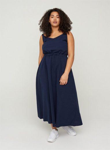 Zizzi Maxikleid Große Größen Damen Baumwollkleid mit Smock und dünnen Trägern