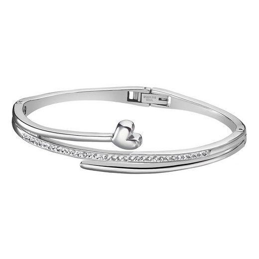 Lotus Style Armreif »JLS1843-2-1 Lotus Style Armband Armreif silber« (Armreifen), für Damen aus Edelstahl (Stainless Steel)