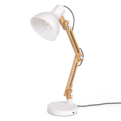 Tomons Schreibtischlampe »aus Holz, unterstützt kabelloses Laden für Smartphone, LED Leselampe mit USB Ladeanschluss, Tischleuchte Verstellbare Arm, Augenfreundliche, Arbeitsleuchte, Bürolampe, Nachttischlampe«