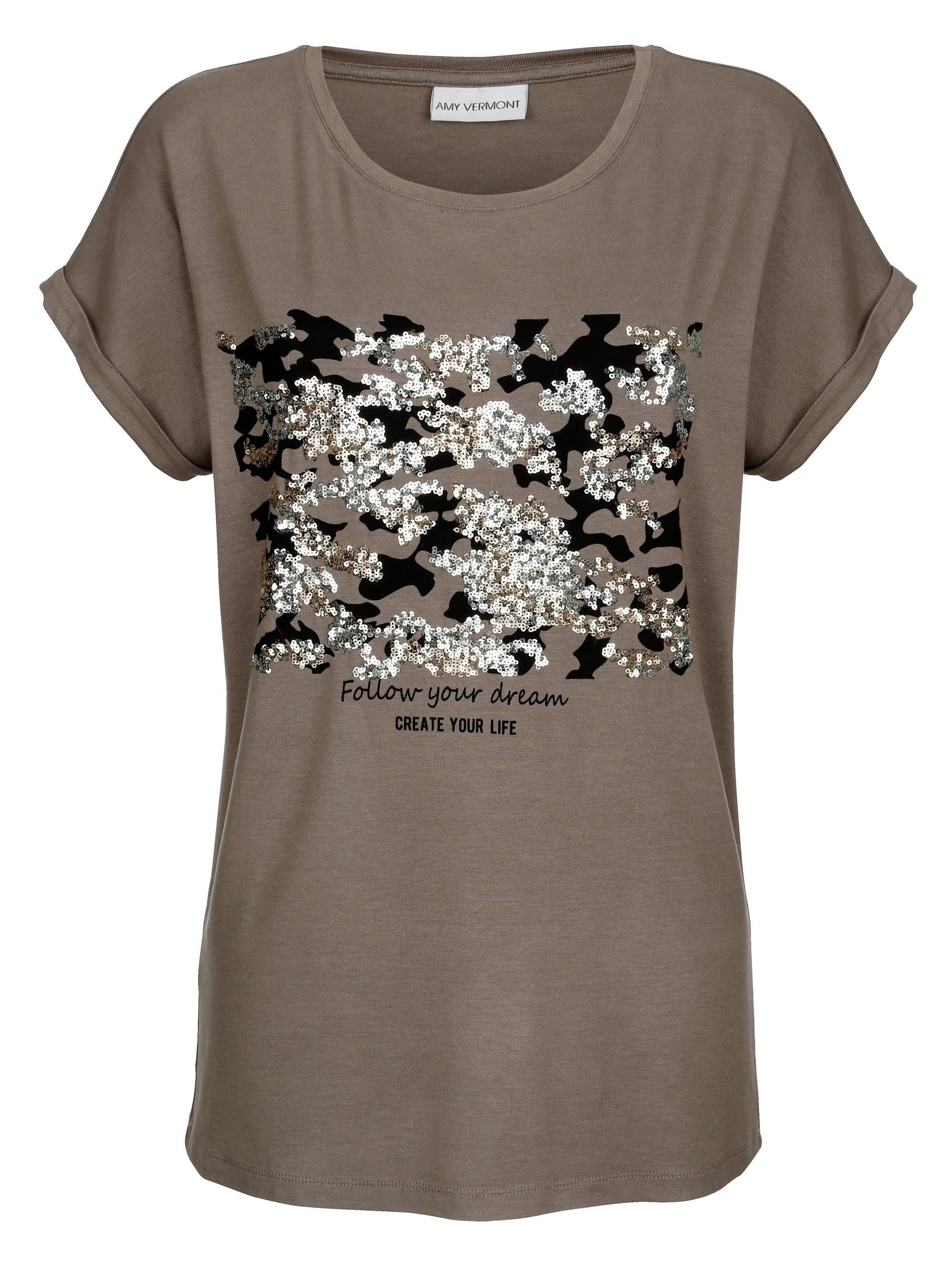 Amy Vermont Shirt mit Pailletten im Vorderteil