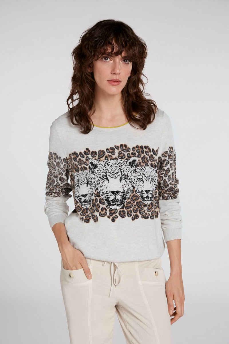 Oui Rundhalspullover »Pullover im Leoprint«