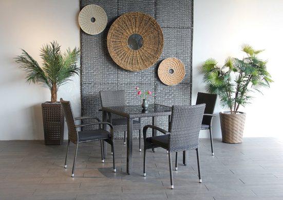 Ploß Gartenstuhl »BRADFORD« (4 Stück), 4er Set, Stahl, klappbar, graphit