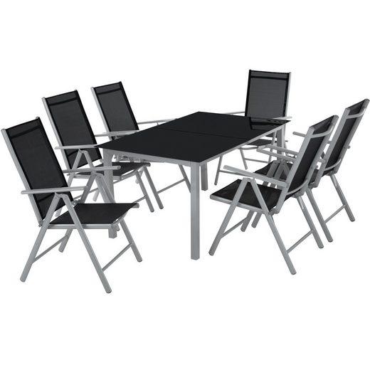 tectake Gartenmöbelset »Aluminium Sitzgruppe 6+1«, (7-tlg., Set aus Stühlen und Esstisch)