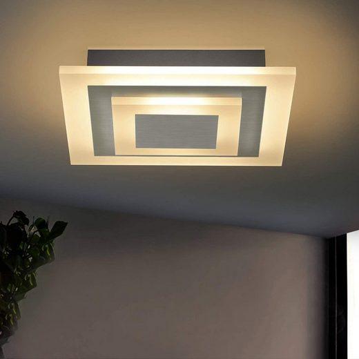 ZMH LED Deckenleuchte »ZMH LED Quadratisch Deckenlampe Wohnzimmer Dimmbar stufenlos mit Fernbedienung Deckenleuchte aus Metall und Acryl Bürodeckenleuchten für Wohnzimmer, Schlafzimmer, Küche Nickel Matt«, Dimmbar