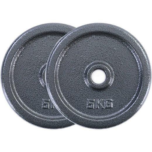 RAMROXX Hantelscheiben »10 kg Hantelscheiben Set 2x5 kg Gusseisen Hantel Gewicht versiegelt 28mm«, 10,00 kg, Material: Gusseisen