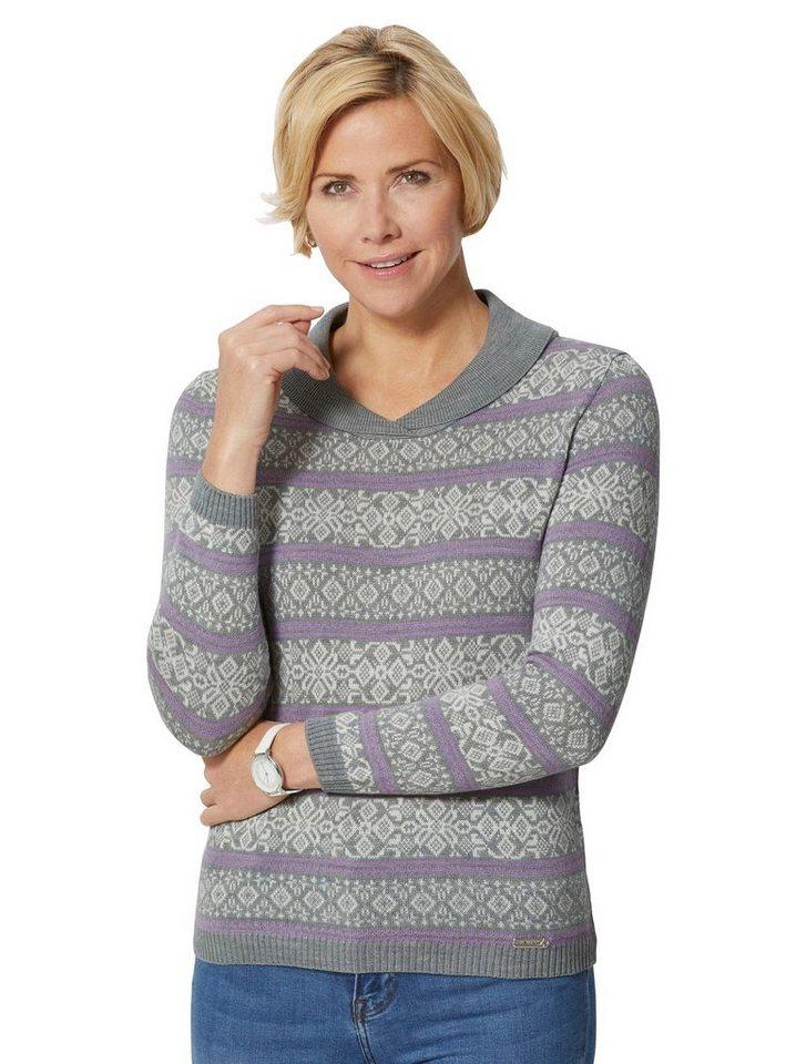 Damen Collection L. Pullover im winterlichen Norwegerstil grau | 08859416803437