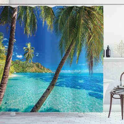 Abakuhaus Duschvorhang »Moderner Digitaldruck mit 12 Haken auf Stoff Wasser Resistent« Breite 175 cm, Höhe 180 cm, Tropisch Palmen, Meer, Strand