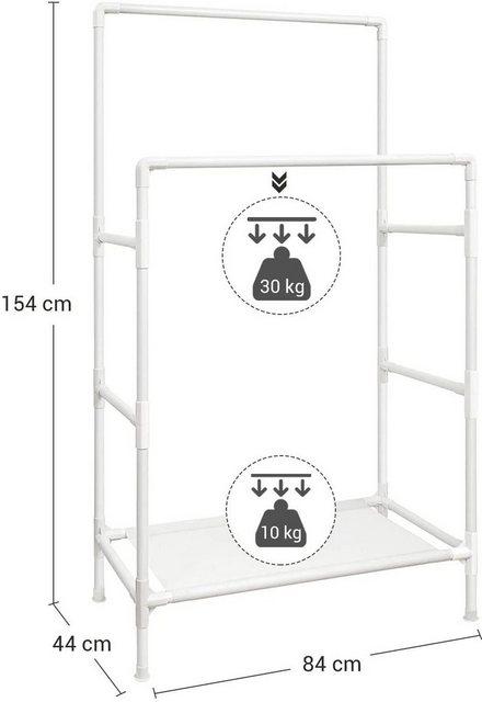 Kleiderständer und Garderobenständer - SONGMICS Kleiderständer »RDR01WT«, leiderständer, Garderobenständer aus Metall, mit 2 Kleiderstangen, 1 Ablage, bis 70 kg belastbar, einfache Montage, weiß  - Onlineshop OTTO