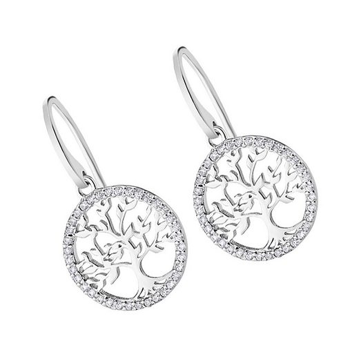 LOTUS SILVER Paar Ohrhänger »JLP1746-4-1 LOTUS Silver Lebensbaum Ohrhänger« (Ohrhänger), Ohrhänger für Damen 925 Sterling Silber, weiß, silber