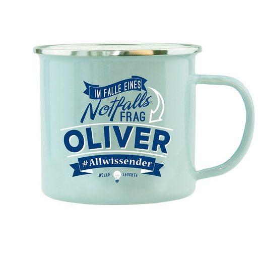 HTI-Living Becher »Echter Kerl Emaille Becher Oliver«, Emaille