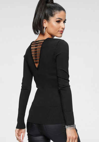 Melrose V-Ausschnitt-Pullover mit besonderer Spitze am Rücken