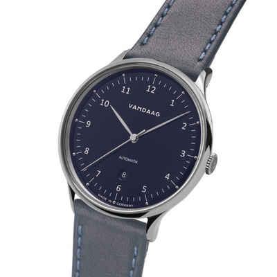 VANDAAG Automatikuhr »Primus Automatik Stahl-Blau«, Made in Germany, Saphirglas, 5 Bar wasserdicht, deutsches Leder