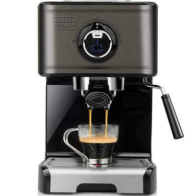 Black + Decker Espressomaschine BXCO1200E, 15Bar Pumpendruck, 1200Watt, Edelstahl-Milchaufschäumer