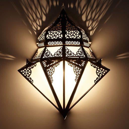 Casa Moro Wandleuchte »Orientalische Wandlampe marokkanische Wandleuchte Ruhi H 42 x B 32 cm aus Metall & Milchglas, Schöne Dekoration für Ihre Wand, Kunsthandwerk aus Marrakesch, L1428«