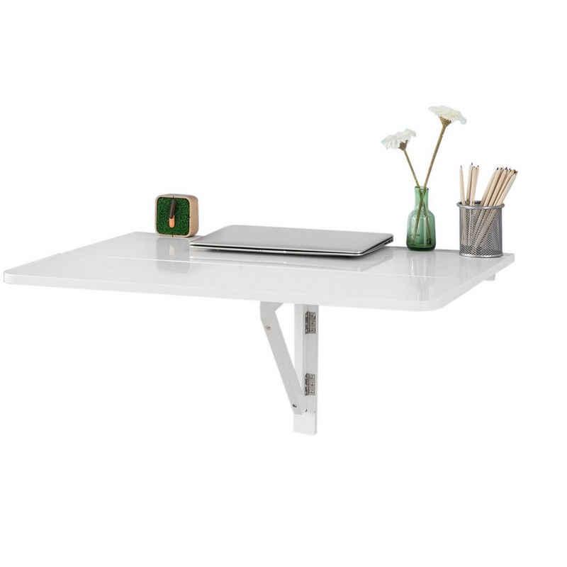 SoBuy Klapptisch »FWT02«, Küchentisch Wandklapptisch Esstisch 2X klappbar Schreibtisch Weiß 80x60cm